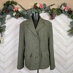 L.L Bean Women's Green Wool Blend Blazer Large